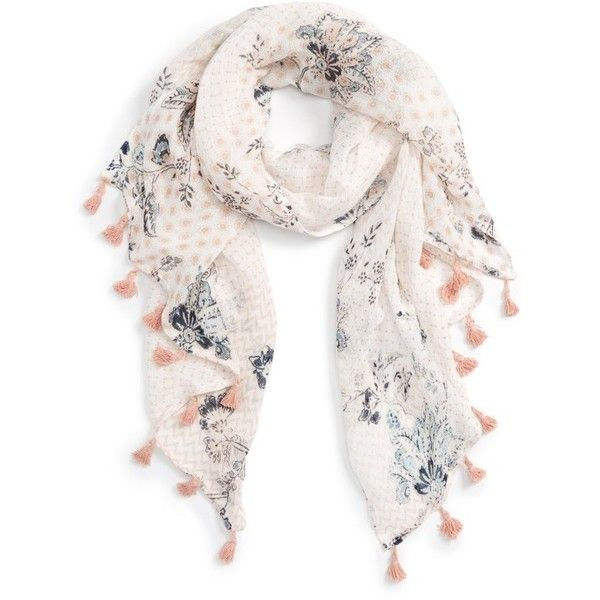 Women's Caslon Floral Tides Tassel Scarf ($39) ❤ liked on Polyvore featuring accessories, scarves, ivory combo, floral scarves, tassel scarves, floral shawl, floral print scarves and ivory shawl
