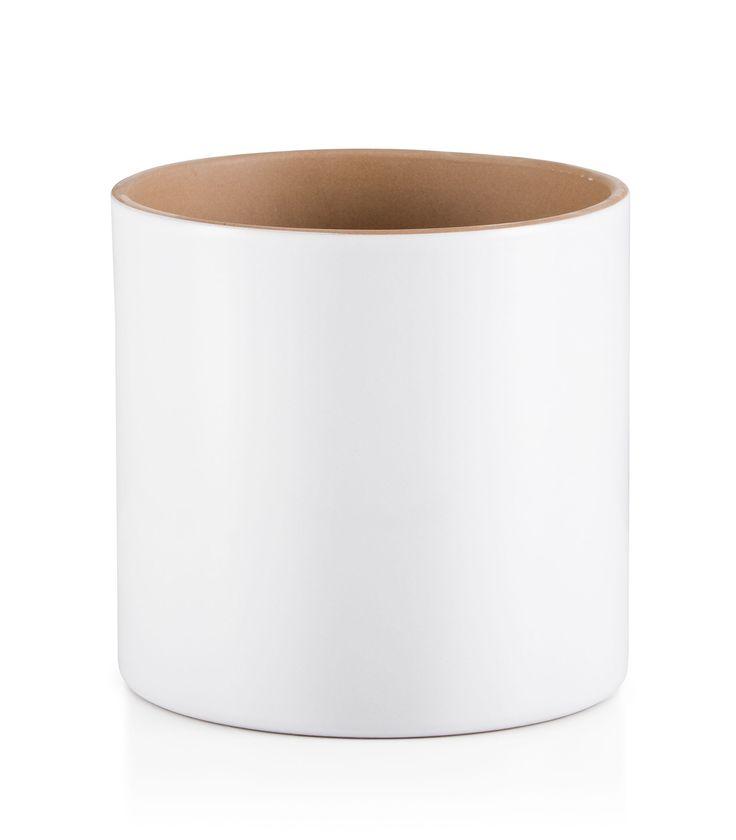 Round Glazed Terracotta White Painted Plant Pot (H)26cm (Dia)30cm | Departments | DIY at B&Q