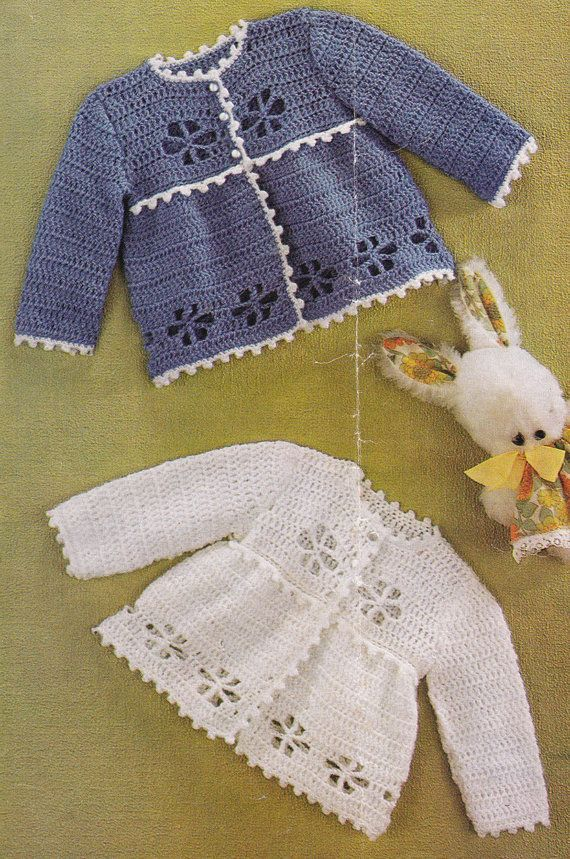 PDF vintage pattern instant download.  Crochet this lovely matinee coat in either one colour or with contrast edging. Instructions given actual