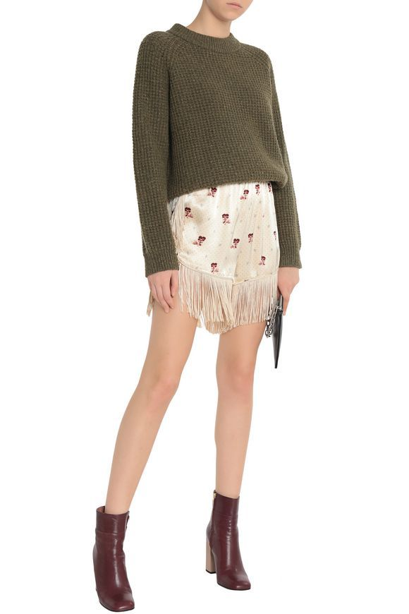 Fringed crepe-satin shorts | GANNI | Sale up to 70% off | THE OUTNET