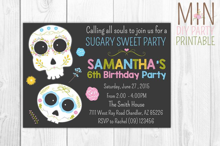Sugar Skull Invitation, Sugar Skull Invitation, Day of the Dead, Halloween Birthday, Mexican Sugar Skull Party, Sugar Skull Decoration by minprintable on Etsy https://www.etsy.com/listing/259502970/sugar-skull-invitation-sugar-skull