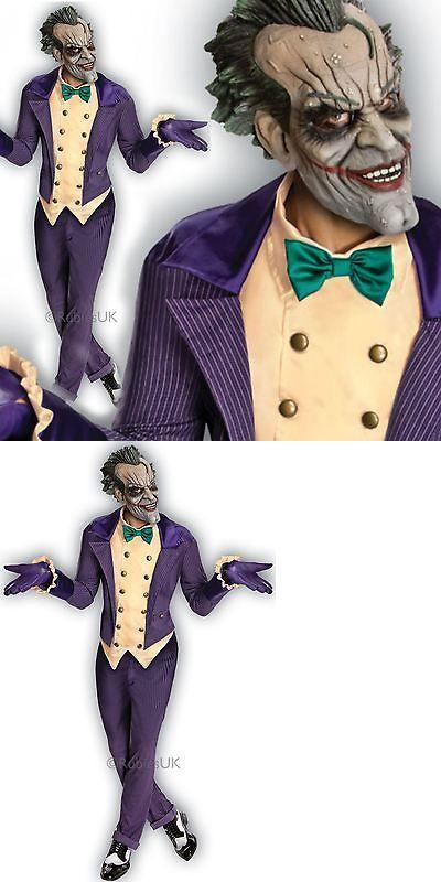 Men Costumes: Mens Deluxe Arkham City Joker Fancy Dress Costume Batman Halloween Outfit + Mask BUY IT NOW ONLY: $27.98
