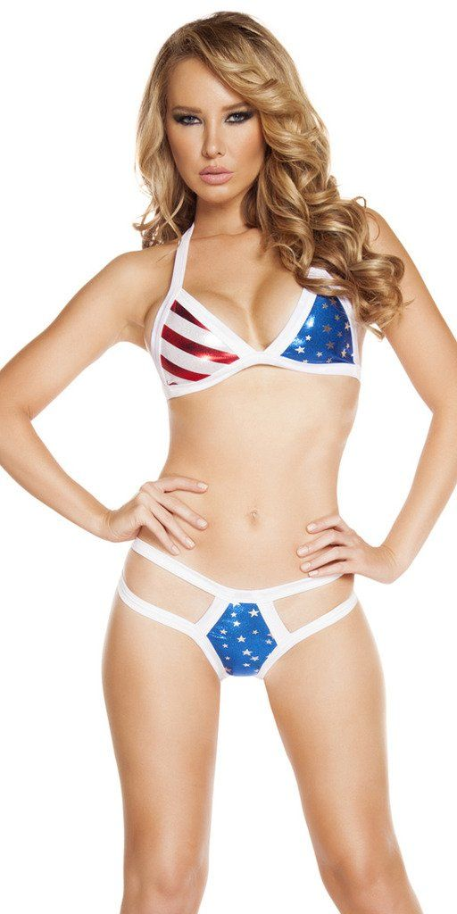 Sexy American USA Labor Day Poolside Fun Strappy Bikini Set - Red/White/Blue - Medium/Large. High Quality Fabric. Great for Go Go. Front lined. Made in the USA. Shiny Metallic Look.