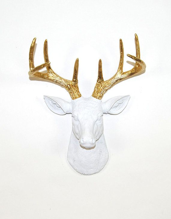 Faux Deer Head The Alfred White W/ Gold by WhiteFauxTaxidermy-- for over tv?