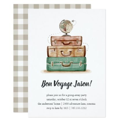 vintage valise going away party invitation - Going Away Party Invite