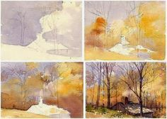 """Free, Step-By-Step Watercolor Landscape Painting Demo – Follow artist and author Mary Ann Boysen as she creates her beautiful fall scene, """"The Sugarbush"""" .  It's just one of many informative lessons at Watercolor-Painting-Tips.com"""