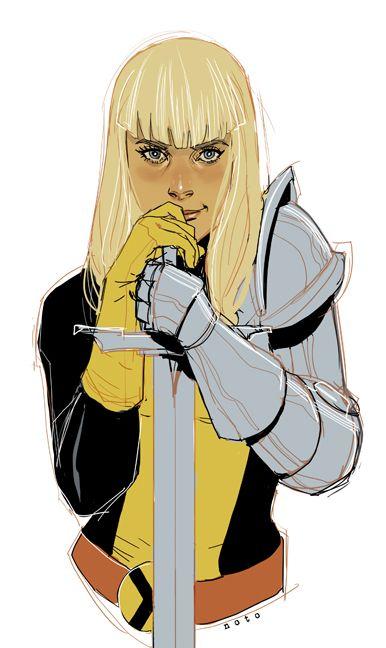 "illyana rasputin or magik from ""The New Mutants"".  Illustration by Phil Noto."