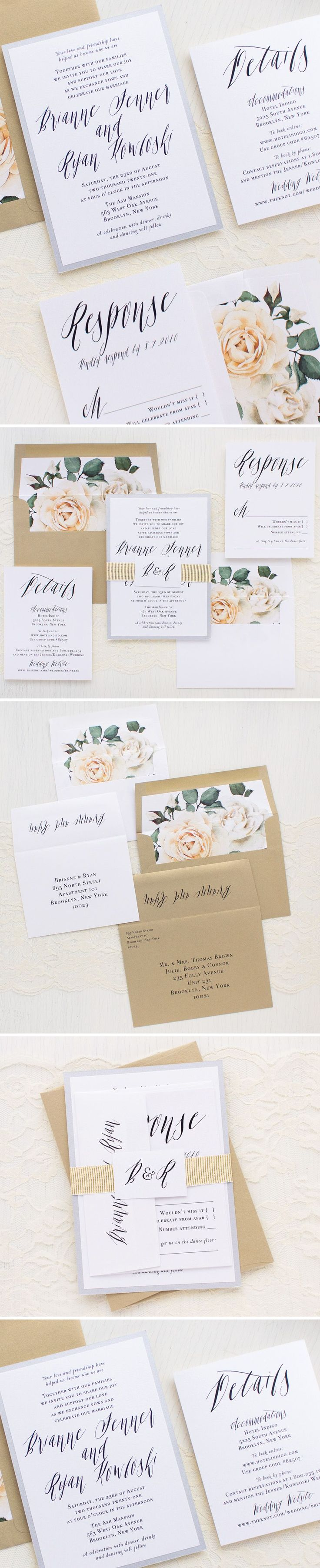 Modern Calligraphy wedding invitations are layered with romantic script fonts, shimmery white paper, hand crafted envelope liners and bundled with a monogram tag and luxe gold ribbed ribbon. Sleek and classy, they'll set an elegant tone for your sophisticated nuptials.