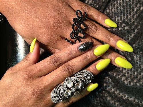 Necole Bitchie.com: Neon Rounded Stiletto Nails