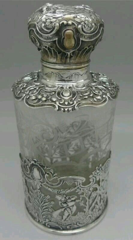Silver and crystal perfume bottle