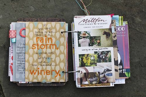 scrapbook on the road. all you need is a whole punch and a couple of rings. @Rachael Eden- totally good idea for your travel journaling.