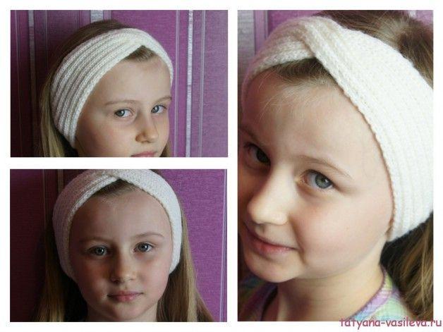 Вязаная повязка на голову спицами с описанием