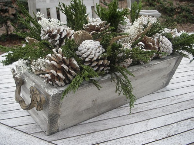 use galvanized buckets? homemade wooden planter box - love the handles on the ends  Mason jar candles and birch mini logs