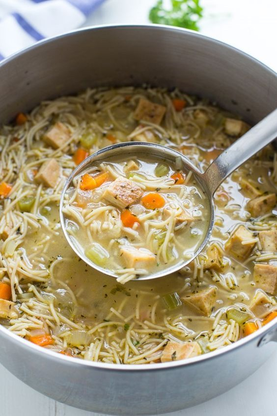 A plant-based recipe for 'chicken' noodle soup made with cubed organic tofu. Not only does it taste amazing but it's comforting and just as satisfying as the classic version! | Making Thyme for Health