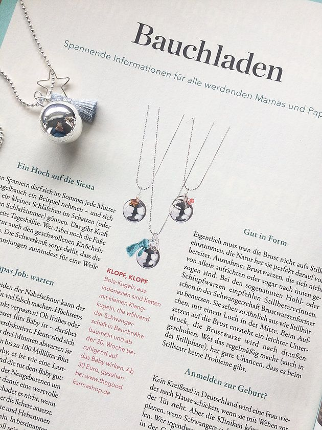 Thank you to Eltern Magazine for their great article on our pregnancy baby chime pendants! We hope our angel callers will soothe and calm many of their readers' babies during pregnancy! Discover the tradition of the Baby Chime or Angel Caller for pregnancy on The Good Karma Shop website thegoodkarmashop.co.uk. We ship worldwide!