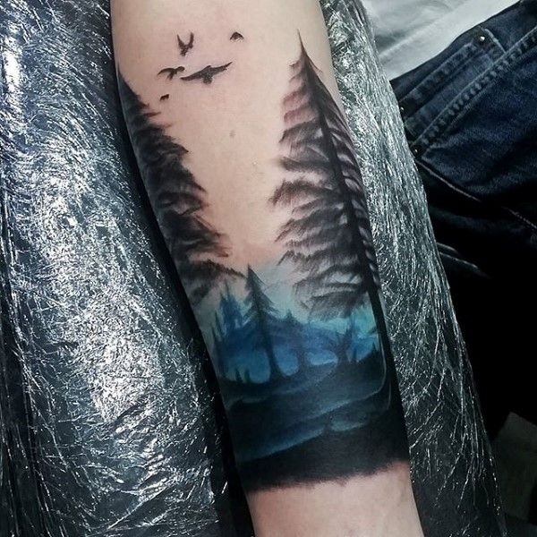 Blue Ink Sky Watercolor Mens Forearm Tree Tattoos