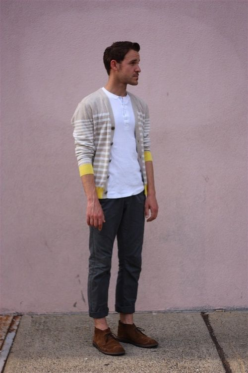 White henley shirt, stripped yellow & beige cardigan w/ cuffed chino pants and some vintage oxfords. Priceless.