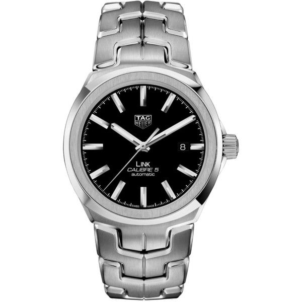 Tag Heuer Link Automatic Watch 41mm (41.906.490 IDR) ❤ liked on Polyvore featuring jewelry, watches, white jewelry, rhodium plated jewelry, avant garde jewelry, white wrist watch and white watches