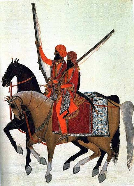 Pre - Anglo Sikh's, a painting by an Indian artist of two members of Ranjit Singh's bodyguard. Ranjit Singh was the founder of the Sikh state. Circa 1800, at the beginning of the Sikh's dominance of the Punjab.