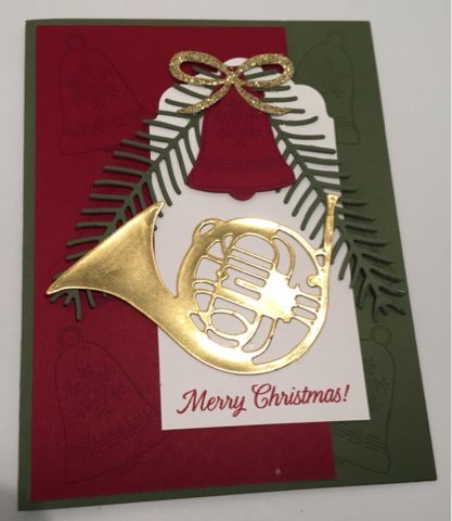 I am working on a Christmas class and was going to enter a challenge but was too late but like this card.  I stamped the bells with Bersemar...