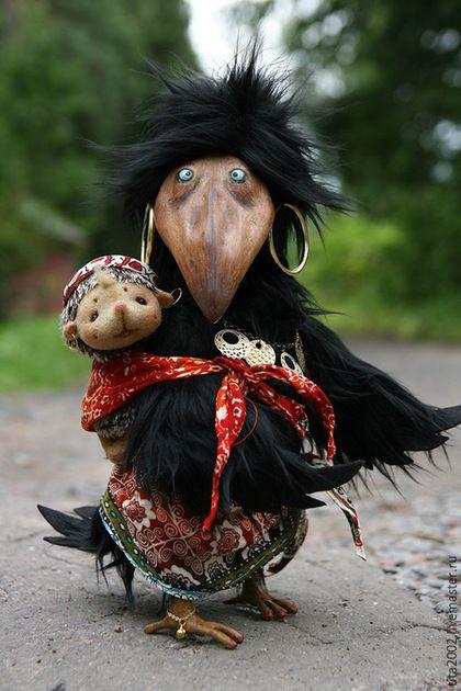 Купить Злата - черный, ворона, птица, птица счастья, Ёжик, авторская работа, ручная работа
