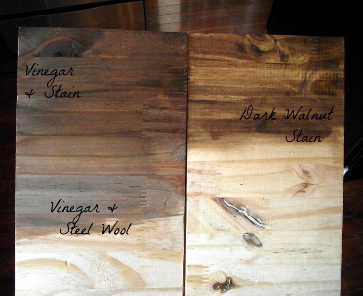 Add miniwax - dark walnut stain to vinegar & steel wool solution. Rust-Oleum Polyurethane in matte finish.