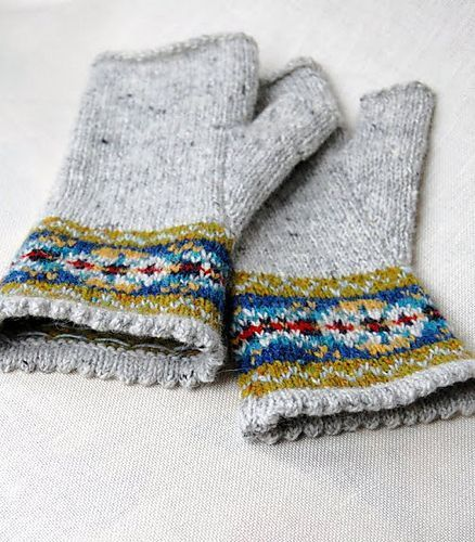My next mitts - solid, with fair isle at the cuff.