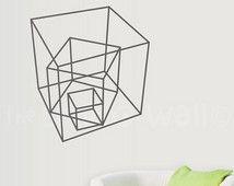 Welpen muur Decal geometrische vormen Vinyl decoratie woonkamer, geometrische Vinyl muur Stickers