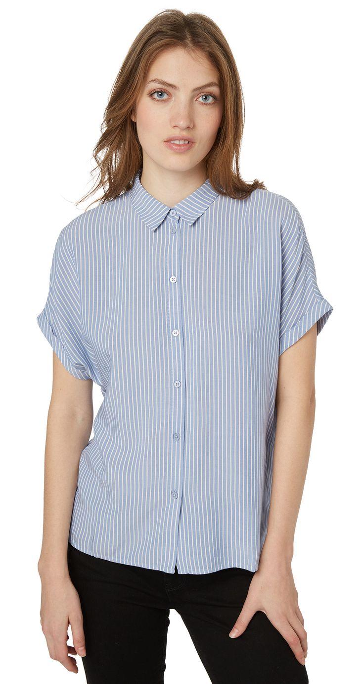 Fein gestreifte Kurzarm-Bluse - basic blouse with collar von TOM TAILOR