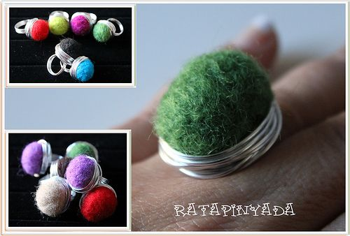 Colorful Felt and Wire Ring /Anillos de Fieltro en Colores