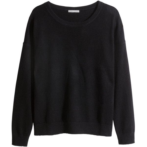 H&M Cashmere jumper (£50) ❤ liked on Polyvore featuring tops, sweaters, shirts, jumpers, black, h&m shirts, longsleeve shirts, long sleeve shirts, cashmere shirt and cashmere sweaters