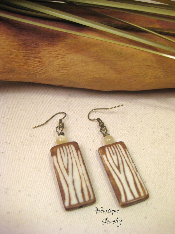 Bone Earrings, Bone Jewelry, Zebra Print Earrings, Zebra Print Jewelry, Animal Print Earrings, Animal Print Jewelry, Long Earrings by VieuxtiqueJewelry on Etsy