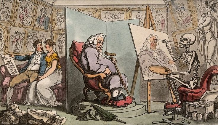 The dance of death: death and the portrait  by T. Rowlandson, 1816. The Wellcome Library, CC BY