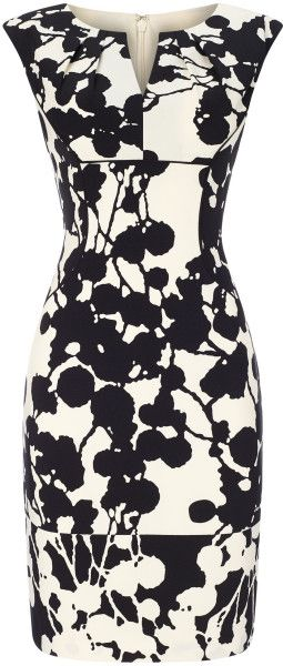 Adrianna Papell Printed Sheath Dress in Black