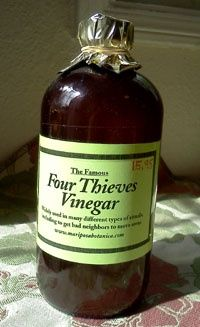Four thieves vinegar! Recipe:  1 part: thyme, rosemary, garlic, lemon balm, hyssop, sage, and peppermint. organic, raw apple cider vinegar, to cover about an inch or to fill bottle  directions:    mix dry, or fresh, herbs in a container, and place in a mason jar filling it half way, and fill with apple cider vinegar. make sure to not use metal when dealing with vinegar!    let it sit for 2- 6 weeks (the longer, the better) and strain it when it is done!