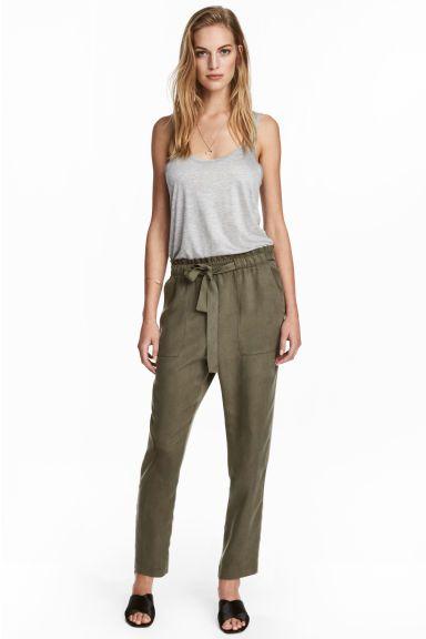 Lyocell trousers - Khaki - Ladies   H&M CA