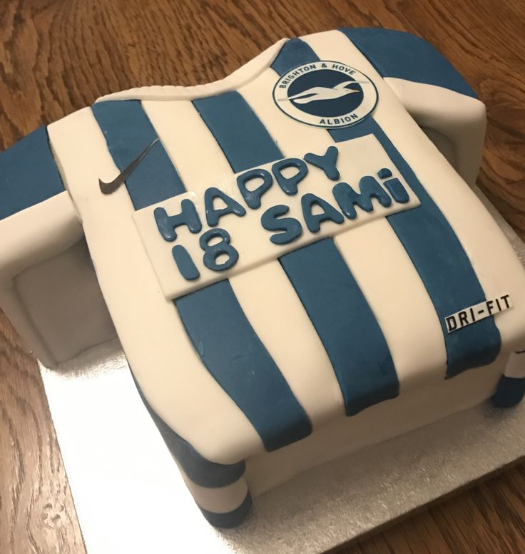 Brighton seagulls football shirt cake all edible handmade - Kitchens by design new brighton mn ...