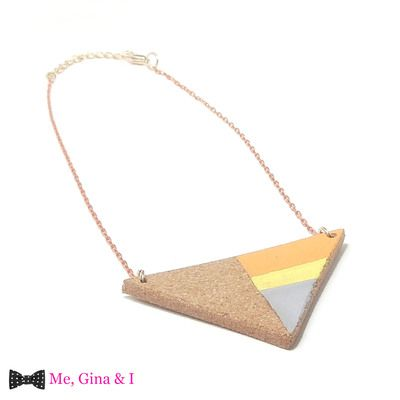 Orange,yellow & grey triangular short necklace made of cork.