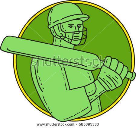 Mono line style illustration of a cricket player batsman wearing helmet holding bat on shoulder viewed from front set inside circle on isolated background.   #cricket #monoline #illustration