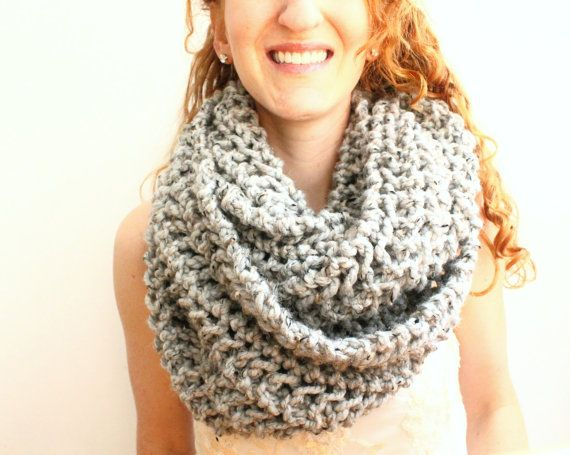 Chunky Knit Circle Scarf, Gray Handknit Infinity Scarf on Etsy, $65.00
