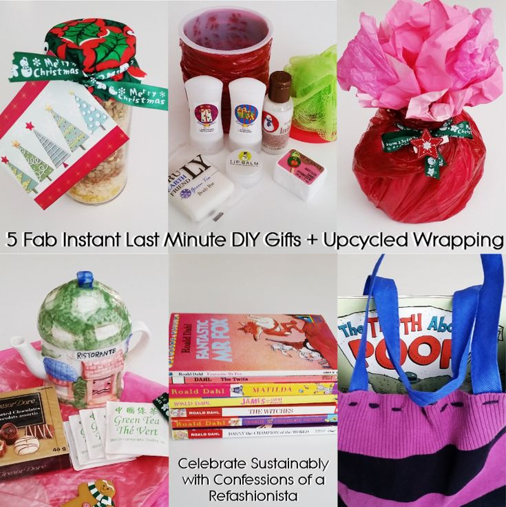 Grab my5 fab instant last minute diy gifts + upcycled wrapping and put together a few personalized prezzies with items you already have around the house!