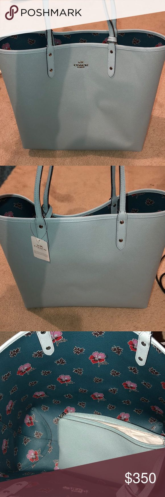 Coach Tote Brand new Coach tote, never used with tags. Original box and bag not included, but will box and bag prior to selling. The bag is baby blue leather with paisley leather inside and small clutch attached. Coach Bags Totes