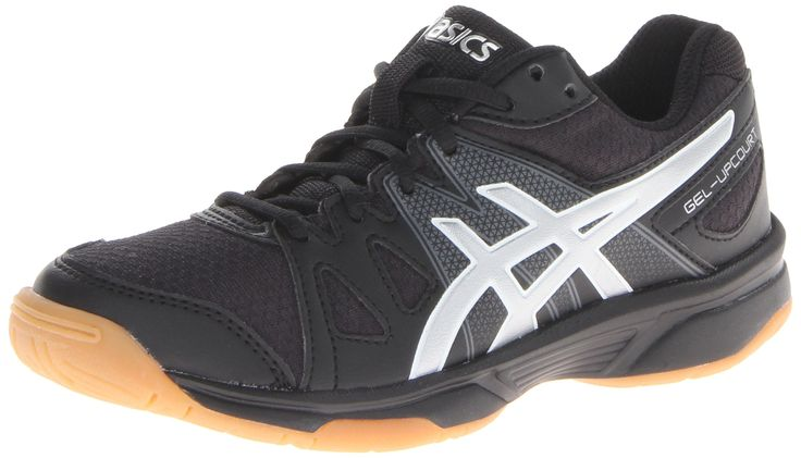 ASICS Gel-Upcourt GS Volleyball Shoe (Little Kid/Big Kid),Black/Silver,3.5 M US Big Kid. Volleyball shoe with leather-and-mesh upper featuring full-length Gum Rubber outsole for traction. Rearfoot GEL cushioning system.