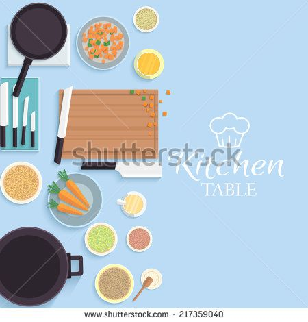 flat kitchen table for cooking in house vector illustration design concept
