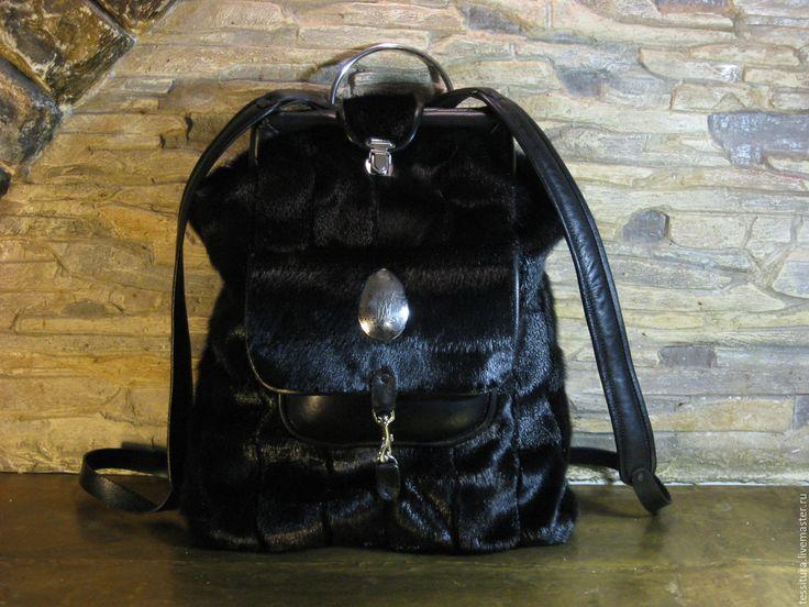 """Купить меховой рюкзак """"Чёрный кот"""" - черный, однотонный, рюкзак меховой, черный рюкзак"""