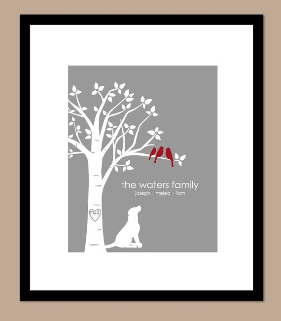 Family tree with pets christmas gift you choose colors for Family tree gifts personalized