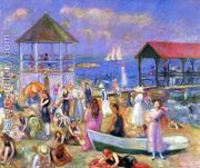 Beach Scene, New London  by William Glackens