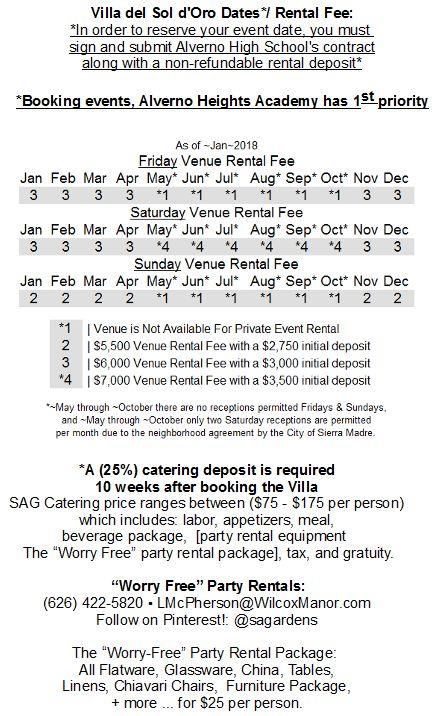 As of ~2018 - Pg 2 of 6: The Villa del Sol d'Oro Venue   Caterer   Party Rental  Brochure