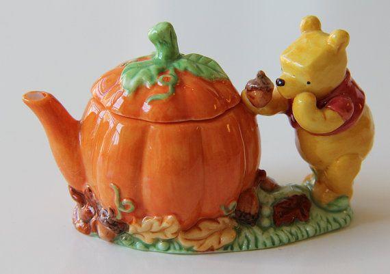 RARE Classic Pooh Tea Set 5 Pc Pumpkin Acorn Disney NIB Vintage 1990s Midwest Importers of Cannon Falls Collectible Autumn Halloween Harvest