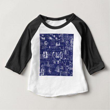 Leonardo Da Vinci's Blueprint Drawings Baby T-Shirt - drawing sketch design graphic draw personalize